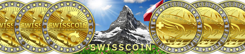 Swisscoin digital crypto-currency business concept